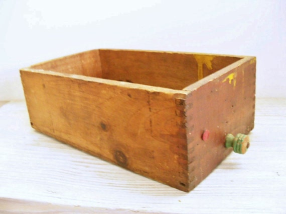 Wooden Drawer Vintage Wood Hardware Store Drawer Green Wooden Knob Butler NJ 1940s