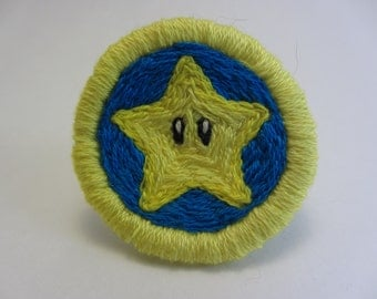 Mario Super Star Hand Embroidered Merit Badge-Style Patch