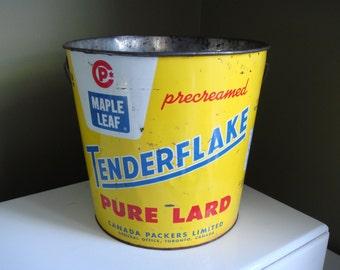 Vintage Tenderflake Pure Lard Metal Bucket 20lb
