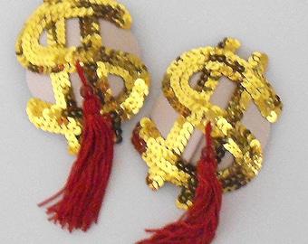 BIG SPENDER Gold & Red Dollar Sequin Nipple Tassels Pasties Covers Burlesque