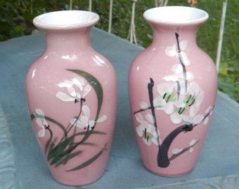 Pair of  Pink Ceramic Handpainted Floral Vases!