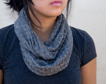 Gray and gold knitted infinity scarf (cowl)