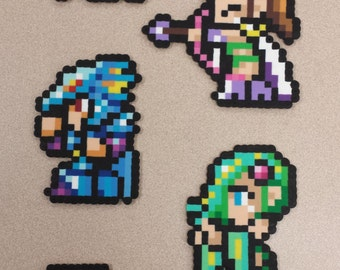 Final Fantasy IV final party perler sprites! Cecil, Rosa, Kain, Rydia and Edge!