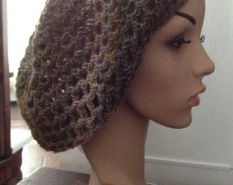 Olive, Grey Beige Slouch Hat ~~Starflower~ ~ Wool Blend