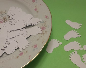 50 White Baby Feet Die Cuts / Baby Shower Die Cuts / Confetti / Scrapbooking Embellishments/  Scrapbooking Die / ANY COLOR Available