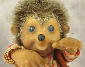 Vintage STEIFF MACKI Hedgehog Plush Doll Animal - with tag - German Germany