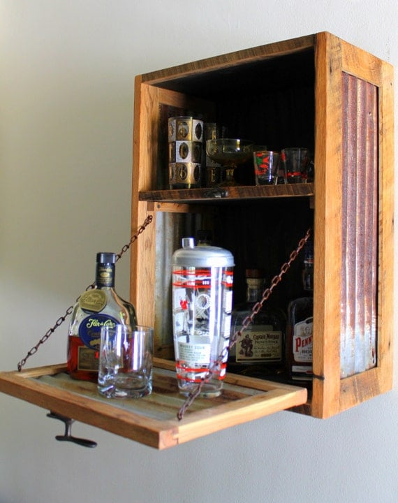 Rustic Hanging Liquor Cabinet Murphy Bar By Inglewoodcrafters