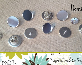 Lapel Pins, 20 Pins, 16mm, Round Lapel Pin, Tie Tack, Shiny Silver, Bezel Blank Pin Back Brooch Collar Clip, Makes 20 Pins (WS16-SP20)