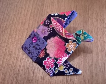 PIN origami fish in purple and black Japanese fabric
