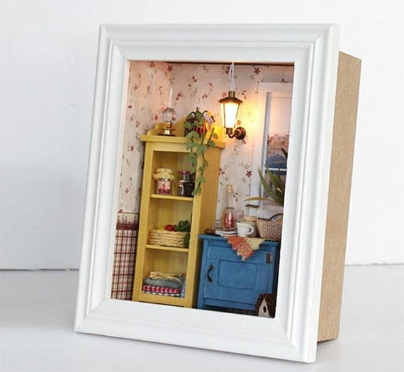 3d wooden frame led light miniature diy do it yourself dollhouse room craft kit with cover