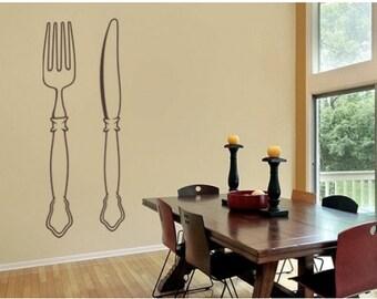 Cutlery wall decal, sticker, mural, vinyl wall art