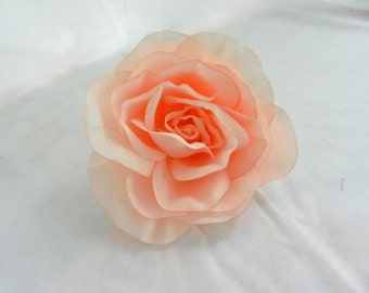 """Large Peachy Pink Soft Organza 4"""" Peony Flower with Pin Back perfect for Bridal Purses and Hats"""