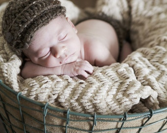 Newborn Baby Boy Photo Prop Handmade Crochet Diaper Cover, Crochet Diaper Cover and Hat Set * Barley