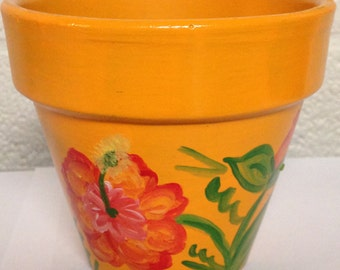 Hand Painted 4 inch Decorative Flower Pot - Floral Design - Warm Colors - Home Decor - Home and Garden
