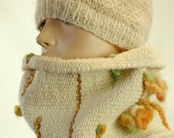 Handwoven Creme Saori Wool Scarf of SOFT Alpaca + Targhee Sheep and Kid Mohair with Embellishments