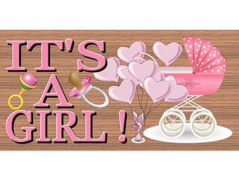 Wood Signs -It's a Boy GS902 Baby Girl Plaque- Baby Wood sign