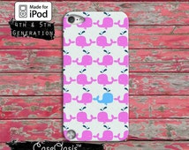 Whale Pattern Pink and Blue Cute Ocean Tumblr iPod Touch 4th Generation or iPod Touch 5th Generation or iPod 6th Generation Rubber Case Gen