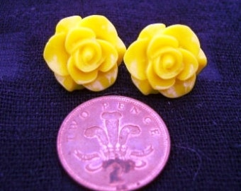 Large Yellow Rose Studs