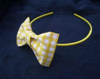 Yellow Gingham Hair Bow Headband