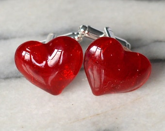 Red Glass Hearts Cufflinks - Rich Blood Red Semi Transparent Choose Silver or Gold Tone Fittings - Valentines Wedding Anniversary Gift Boxed