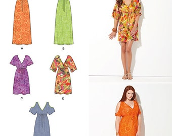 OUR of PRINT Simplicity Pattern 1375 Misses' Pullover Dress in Two Lengths with Bodice Variations