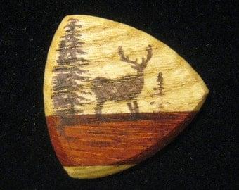 Wooden Guitar Pick Big  Buck Deer Guitar or Bass Pick