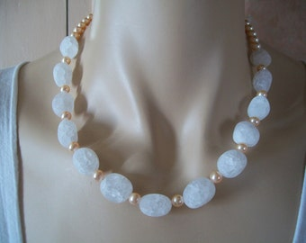 Necklace genuine Pearl Pearly pink