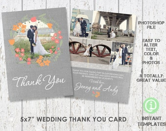 Wedding Thank You Template Card -  Photoshop Template - C1W005