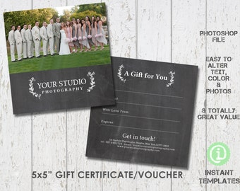 Photography Gift Certificate Template, Photoshop Template - G1F003 You'll receive 2 files