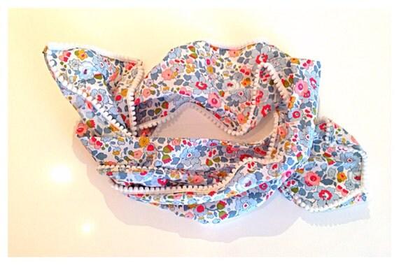 Betsy Liberty Print Fabric white mini Pom Pom  scarf