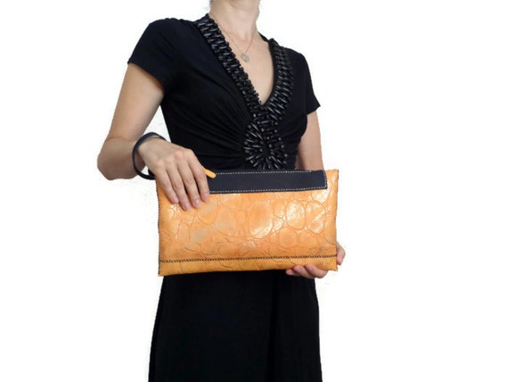 Leather Clutch Bag/ Wristlet / Purse/ One of a kind/ Hand Stitched and Handmade