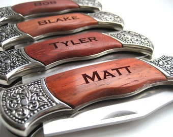 Engraved Knife Set of 13 - Wood Handle Pocket Knife