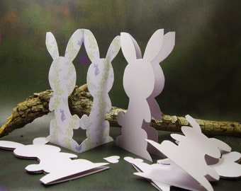 Pearl Lavender Bunny Cards/Hand Cutout Bunny Cards/ Hand Made Bunny Cards