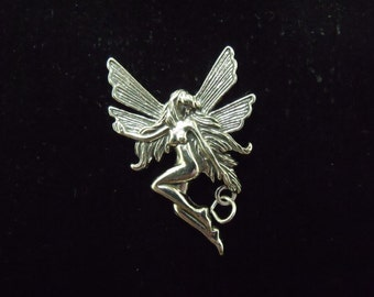 Sterling Silver Large Fairy Charm/Pendant  - .925  6.9 grams