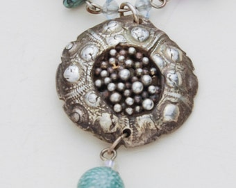 Pendant of fine silver, made from a mold of a Sea Urchin