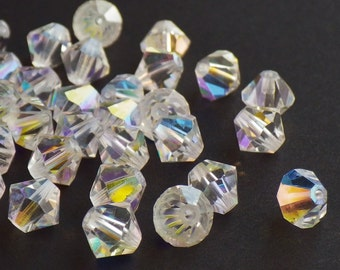50 Vintage Swarovski Crystal Beads, 6mm Article 5301, Crystal With Aurore Boreale Finish