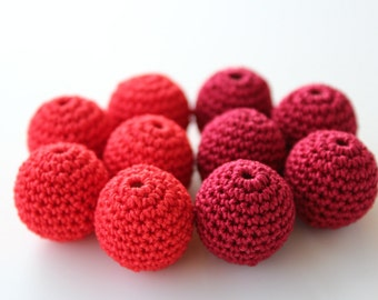 Crochet beads 10 PC 20 mm (0,79'') / Red crochet wooden beads / Choose color