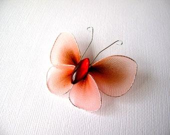 Brown/Beige Butterfly Brooch