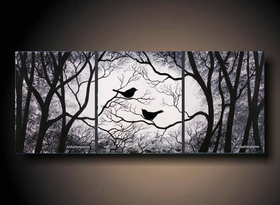 3 Piece Set Wall Art Birds On Tree Three 16 X