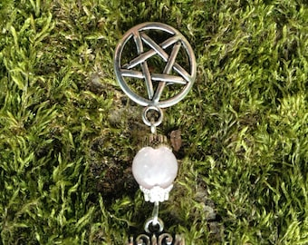 Pentagram Pentacle Necklace With Rose Quartz Gemstone Crystal Healing Reiki Pagan Wicca Druid Witch Shaman Whitchcraft Goth
