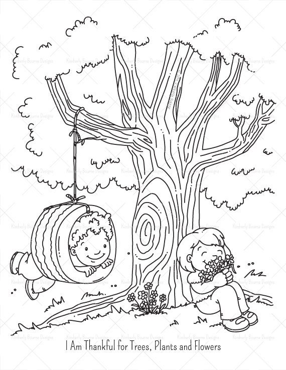 Thankful tree coloring coloring pages for Coloring pages trees plants and flowers