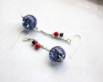 Purple Swirl Glass Earrings, Red, Dangle Earrings