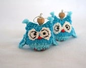 Turquoise Owl, Crochet earrings, Wooden beads, Statement jewelry, Eco friendly style, Gift Mother Day, Woodland style