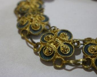 Vintage Italian Blue & Gold Linked Bracelet