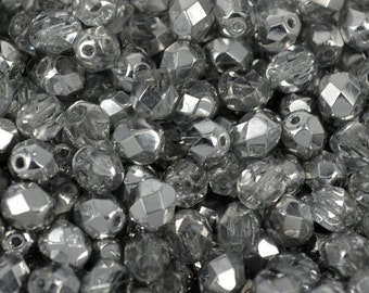 Czech fire polish glass beads 6mm Silver color/Crystal (30)