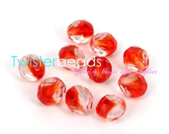 Czech firepolished / faceted glass beads 10mm Crystal / Siam Ruby (15)