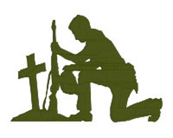 BUY 2, GET 1 FREE - Soldier, Marine, Army Praying Kneeling at Cross Machine Embroidery Design