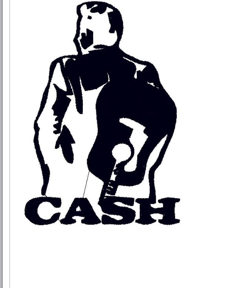 Johnny Cash Silhouette Machine Embroidery Design 4x4 5x7
