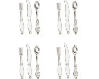 Dollhouse Kitchen Miniature Silverware Set of 4 Place Settings Knife Fork Spoon Embellishment Buttons