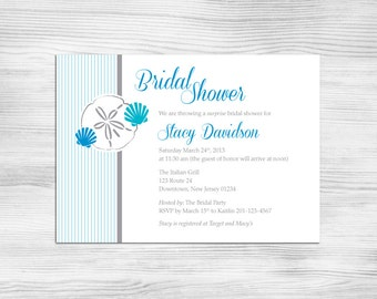 DIY Printable Bridal Shower Invitation: Seashells